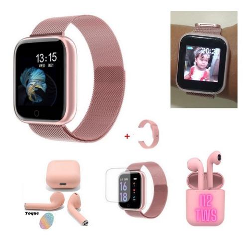 Relógio Smartwatch T80 2pulseiras+fone Sem Fio Rosa+película