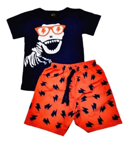 Kit 6 Conjunto Menino Roupa Infantil Shorts Moletom Atacado