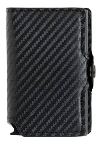 Billetera Walla Carbono Black Cuero Y Fibra De Carbono