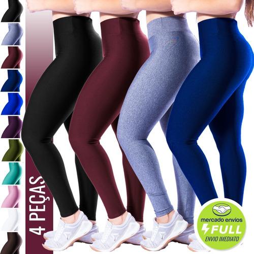 Kit 4 Calça Legging Feminina Ginástica Tecido Liso Gym Fit