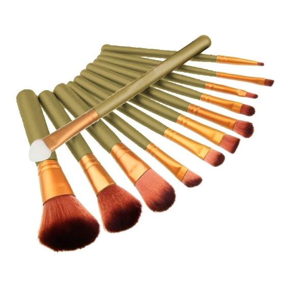 Set De Brochas Y Pinceles Maquillaje Profesional 12 Piezas