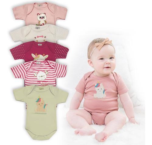 Kit 5 Bodys De Bebê Manga Curta Creep Baby Menina