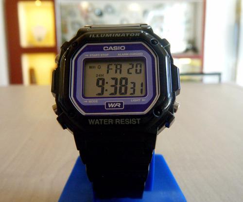 Reloj Casio Caballero Pvc Digital Luz,alarmas Calendario