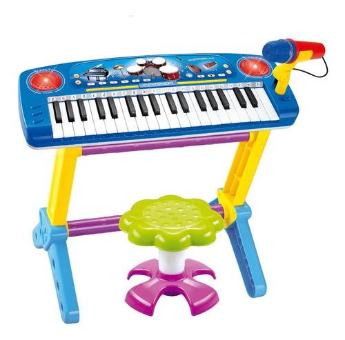 Piano Teclado Infantil Rosa Com Microfone Com Banquinho Azul