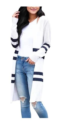 Senhora Ponto Aberto Mulheres Camisa Listra Cardigan Bolso L