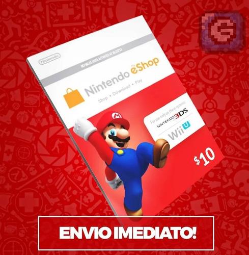 Cartão Nintendo Switch 3ds Wii U Eshop Card Usa $10 Dólares