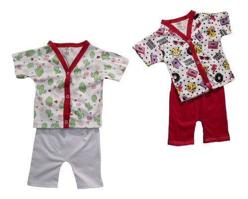 Kit 2 Pijama Bebe Criança Verão Manga Curta Black Friday