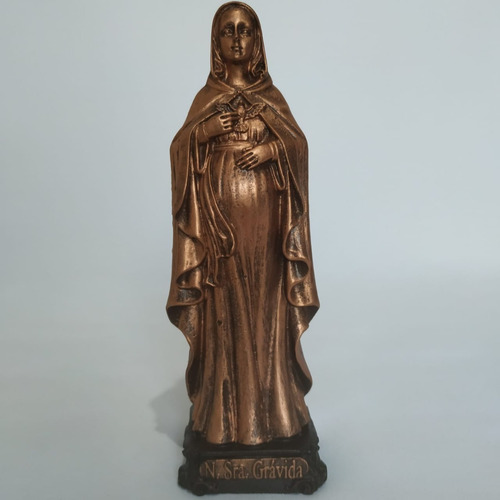 Imagem Nossa Senhora Grávida. 15cm. Cor Bronze. Resina