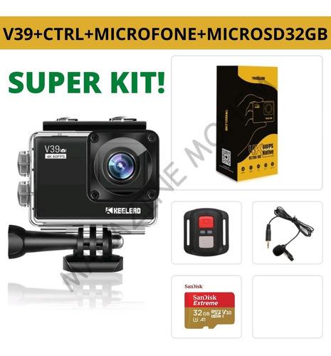 Kit Câmera Keelead V39 4k 60fps Ultra Hd + Microsd De 32gb