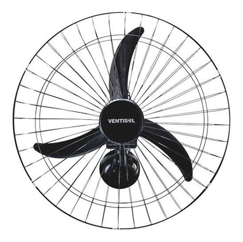Ventilador De Parede Ventisol New New Preto Com 3 Pás Cor  Preto De  Plástico, 50cm De Diâmetro 220v