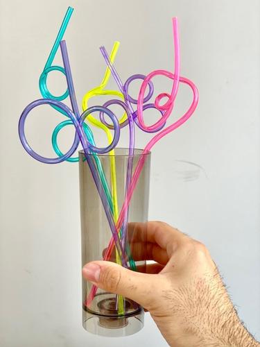 20 Unid. Canudo Maluco Plástico Espiral Acrílico Infantil