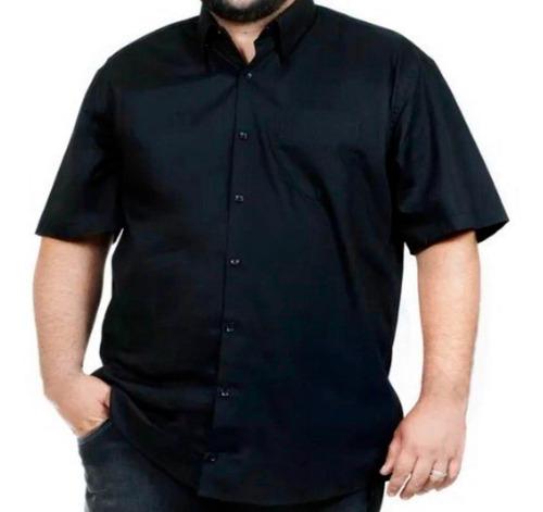 Camisa Social Extra Grande Manga Curta Com Bolso Luxo Estilo
