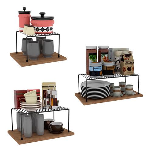 Kit Organizador Armário Cozinha Prateleira Aramado Aço 3 Un