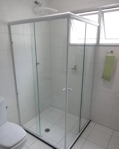 Box P/ Banheiro Vidro Cristal Incolor 8mm Temp Vão De 1