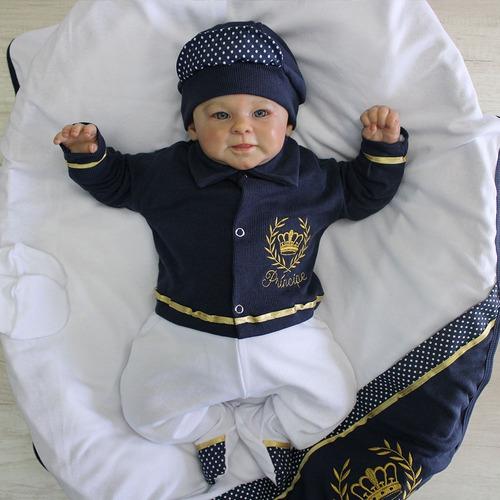 Saída De Maternidade Menino Príncipe Marinho 6 Peças