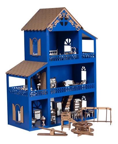 Casa Casinha De Boneca Azul Polly Mdf +36móveis+parquinho