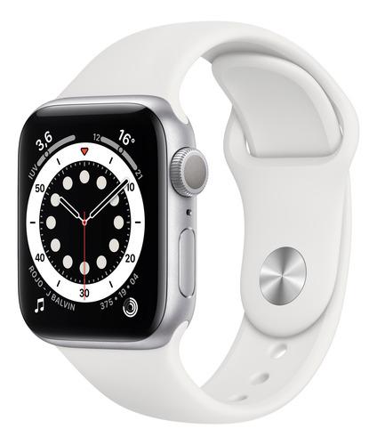 Apple Watch  Series 6 (gps) - Caja De Aluminio Plata De 40 Mm - Correa Deportiva Blanco