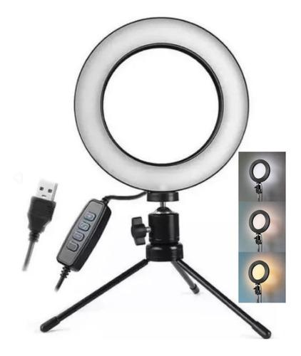 Luz De Mesa Ring Light Youtube Make Portátil 6 Polegadas
