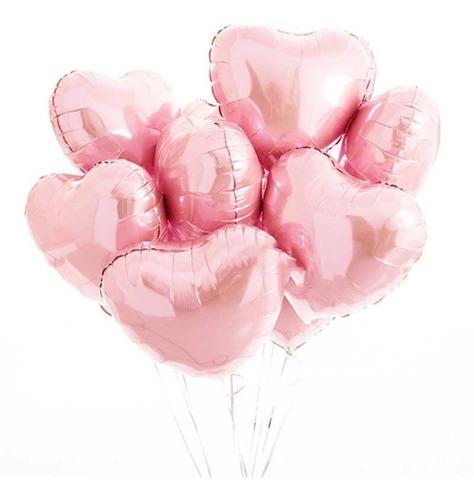 10 Balão Coração Rosa Metalizado 45cm Casamento Noivado Fest