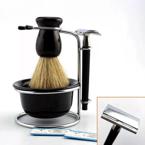 Kit Barba Vintage Retrô Barbearia Navalha Pincel Banheiro