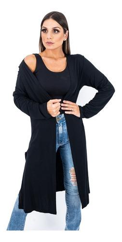 Cardigan Feminino Plus Size Casaco Longo Kimono Sobretudo
