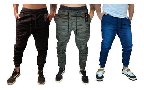 Kit 3 Calças Jeans Camuflada Masculina Jogger C/ Punho Lycra