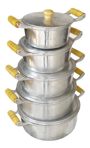 Jogo De Panelas Aluminio Batido Grosso Com Tampa Pesada