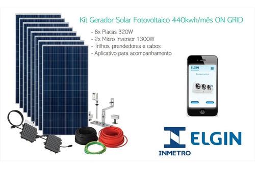 Kit Gerador Solar Fotovoltaico 480kwh/mês On Grid