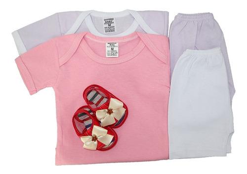 Kit C/5 Body Bebê + Shorts Liso E Sapatinho Peças Verão
