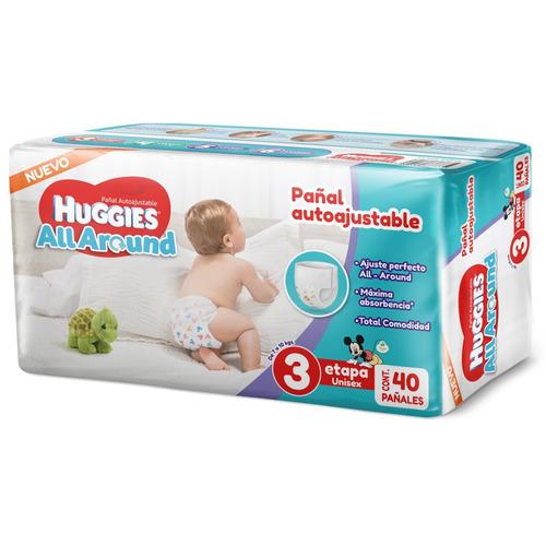Pañales Huggies All Around Etapa 3 Unisex M 40u