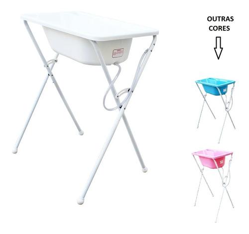 Banheira C/ Suporte Bebê Opções Cores Azul Ou Rosa Ou Branca