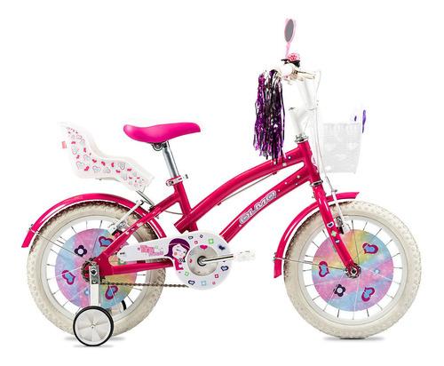 Bicicleta Infantil Olmo Infantiles Tiny Friends R16 Frenos V-brakes Color Rosa