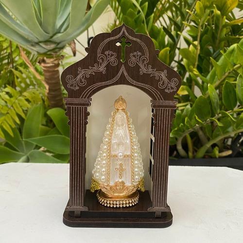Capela Com Imagem Nossa Senhora Aparecida 12cm Em Perola