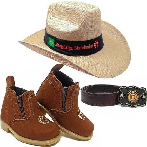 Kit Infantil Botina Country + Cinto + Chapeu Cowboy Peao Mm