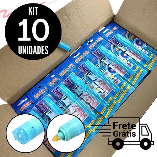 Kit Com 10 Canetas P/ Identificar Notas Dinheiro Falsas
