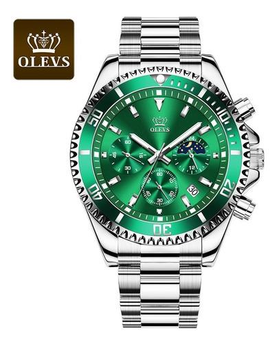 Relógio Masculino Olevs Multifuncional Com Três Olhos Lumino
