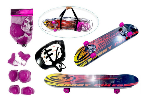 Kit Skate Infantil Com Capacete, Joelheiras E Cotoveleiras