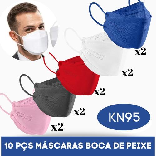 Kit 10 Mascaras 3d Boca De Peixe Reutilizavel Pff2 N95 Color