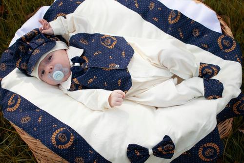 Kit Saida De Maternidade Menino Azul  Realeza Suspensório