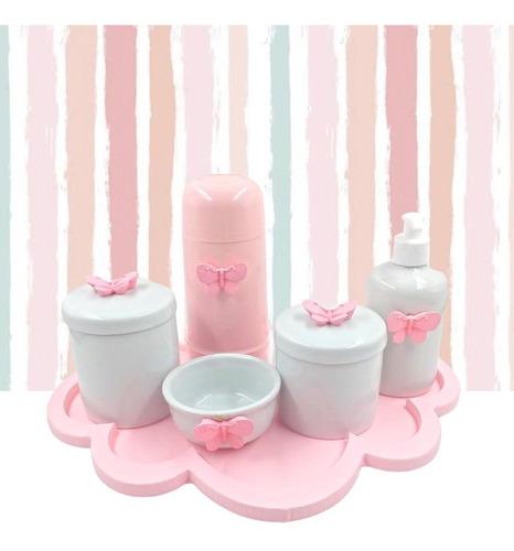 Kit Higiene Porcelana Nuvem Rosa Diversos Temas Garrafa 250