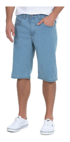 Bermuda Jeans Masculina Básica Azul Claro Polo Wear