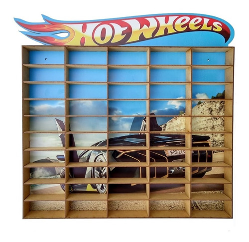 Suporte Porta Hot Wheels Para 50 Carrinhos Adesivado Mdf