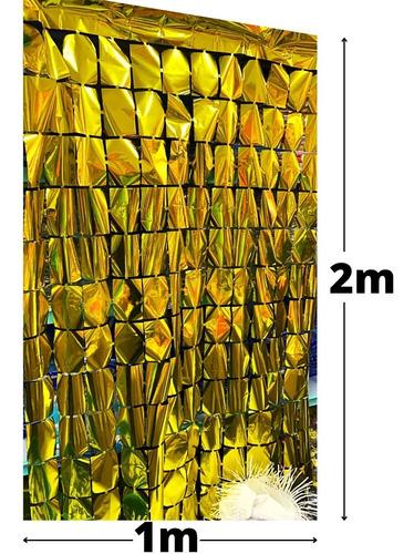 Cortina Metalizada Quadrada Shimmer 4d Tema Painel 1_x_2_mts