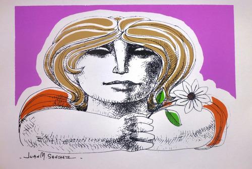 Juan Manuel Sanchez Serigrafía Mujer Con Flor