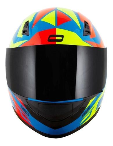 Capacete Para Moto  Integral Norisk Ff391  Cutting  Light Blue, Yellow E Red Tamanho 58