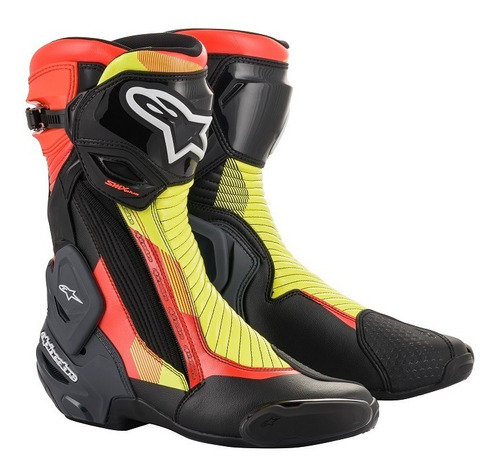 Bota Alpinestars Smx Plus V2 Preta Amarelo Vermelho Fluor