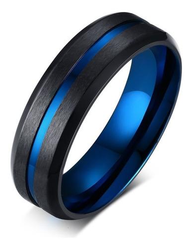 Anel Preto Polido Fio Azul De Aço Inoxidável