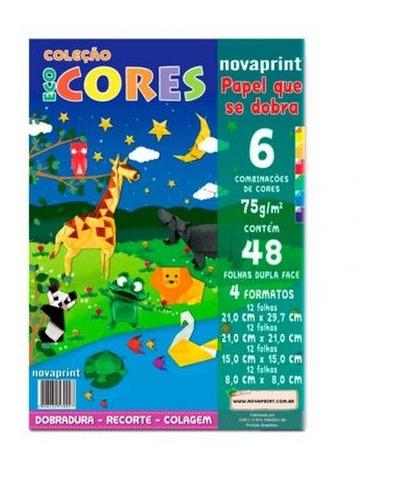 Papel Ecocores Dobradura 75g 48 Folhas 6 Cores 4 Formatos -