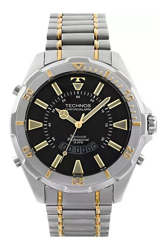Relógio Masculino Dourado Skydiver  Technos Ref T205fq/5p