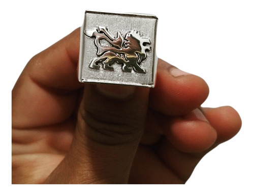 Anel Leão De Judá Em Prata 950  Quadrado Montado Feito A Mão